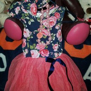 Floral tutu dress w headband & accessory